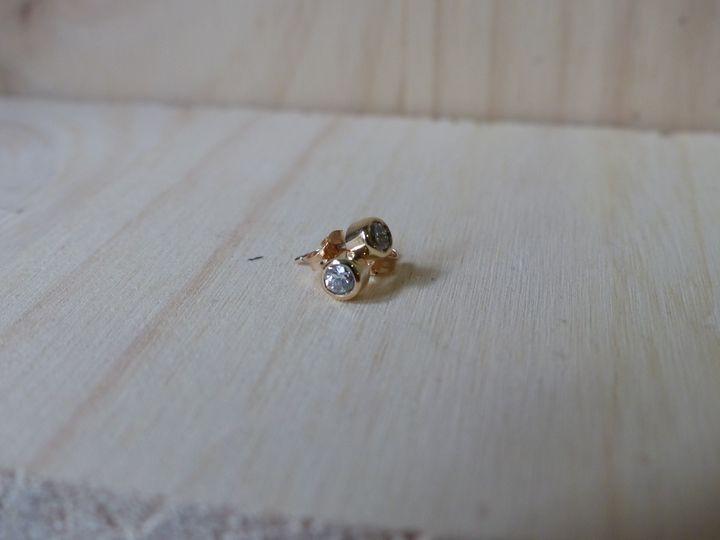 boucles d'oreilles or rose et diamant