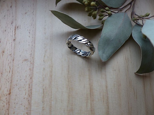 Bague anneau tressé en argent 925
