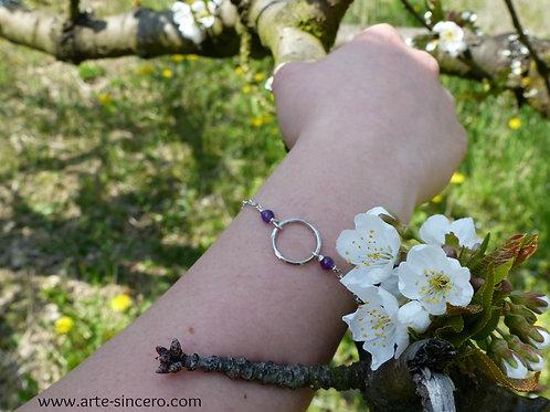 """Bracelet """"rond"""" en argent 925 et améthyste réalisable sur commande"""