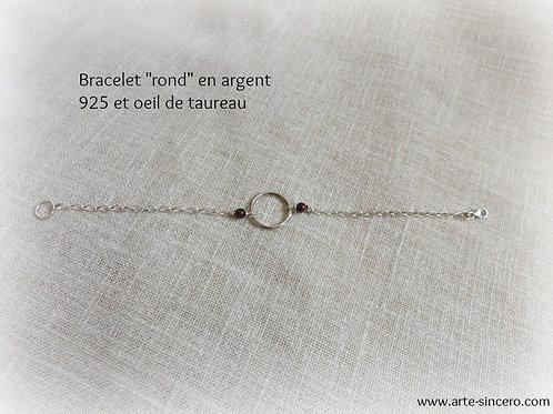 """Bracelet """"rond"""" en argent 925 et oeil de taureau réalisable sur commande"""
