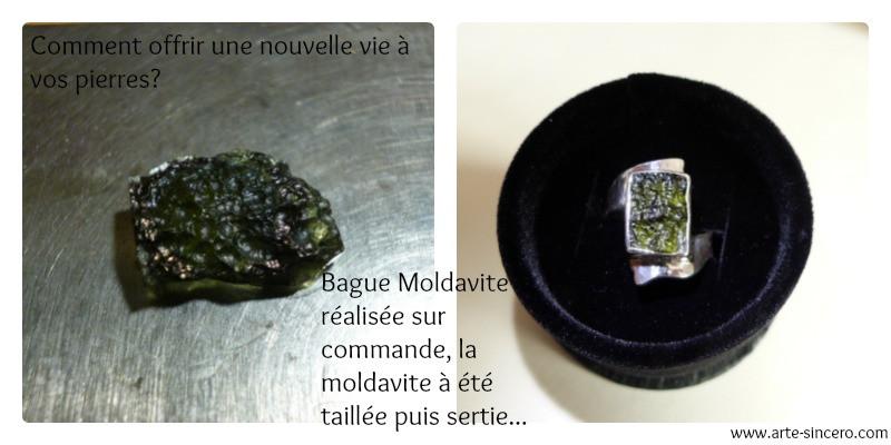 Bague en argent 925 et pierre naturelle de moldavite
