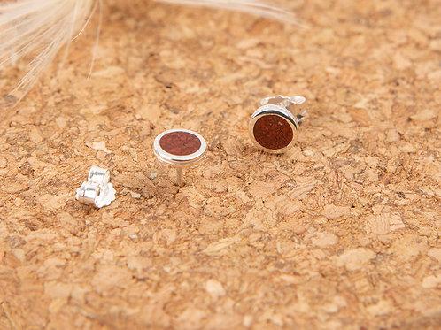 Boucles d'oreilles puces en argent 925 et poudre de jaspe rouge incrustée