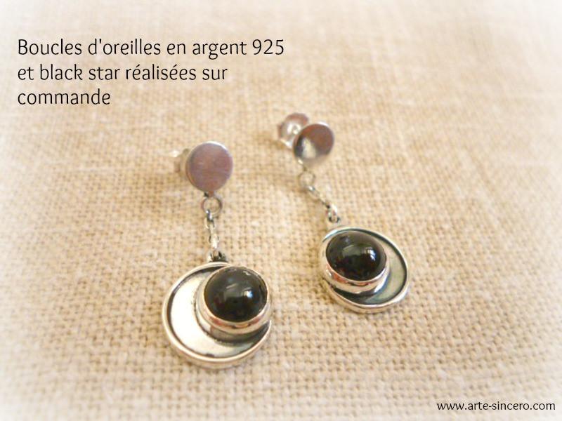 Boucles d'oreilles lunes en argent 925 et black star