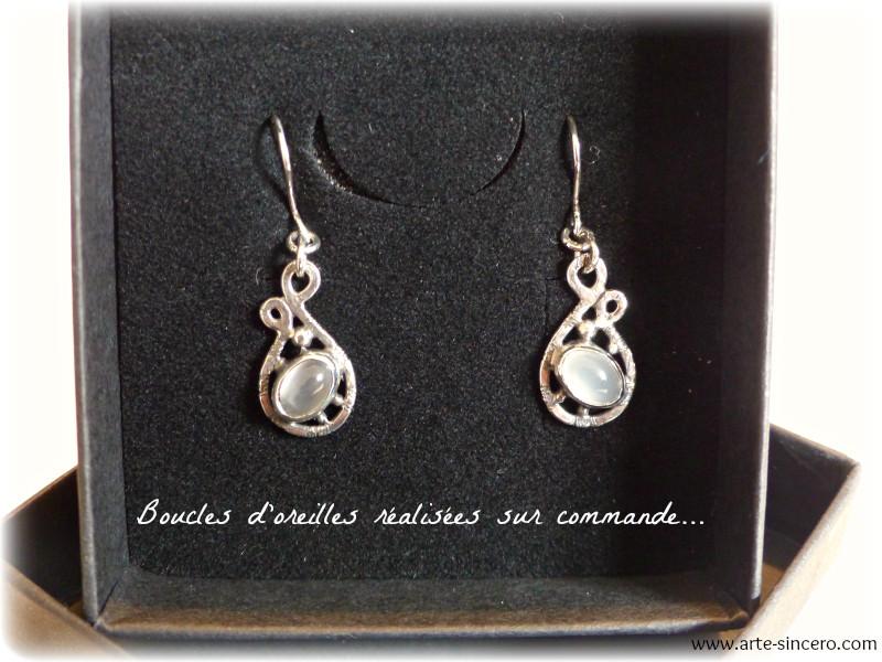 Boucles d'oreilles en argent 925 et pierres de lune