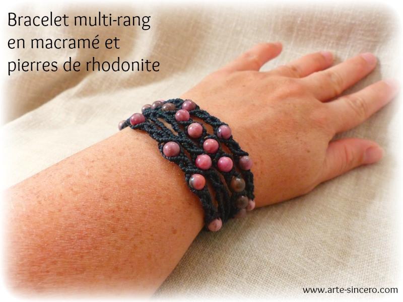 Bracelet multi-rang en macramé et rhodonite