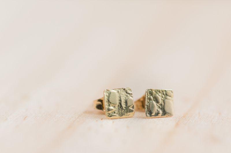 Arte-Sincero clous d'oreilles or jaune forme carrée