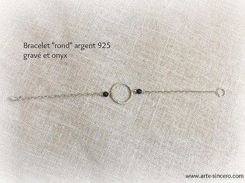 """Bracelet """"rond"""" en argent 925 et onyx réalisable sur commande"""
