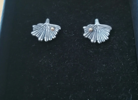 Boucles d'oreilles feuille de ginkgo biloba argent et or réalisable sur commande