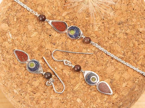 Bracelet en argent 925, jaspe rouge et pierres fines incrustées