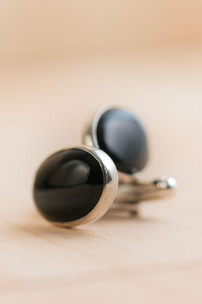 Arte-Sincero boutons de manchettes argent et onyx noirs
