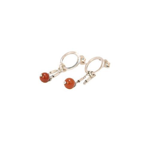 """Boucles d'oreilles """"Douxie"""" en argent 925 et jaspes rouges"""