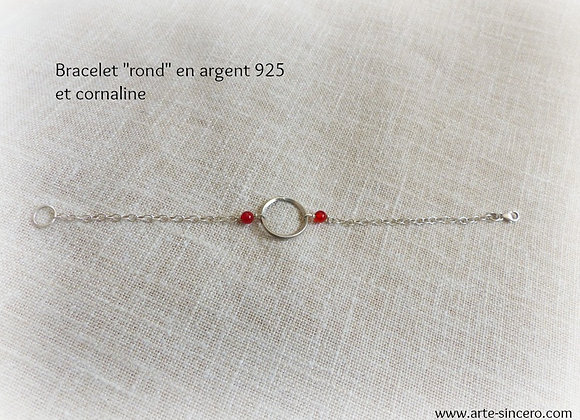 """Bracelet """"rond"""" en argent 925 et cornalines réalisable sur commande"""