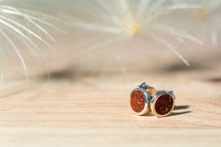Boucles d'oreilles argent jaspe rouge_Ar