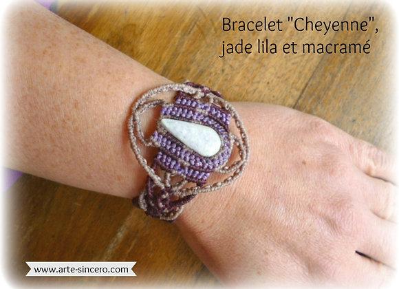 "Bracelet ""Cheyenne"", macramé et jade lila"