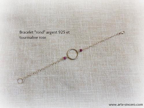 """Bracelet """"rond"""" en argent 925 et tourmalines roses réalisable sur commande"""