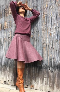 Jupes à godet laine tweed fine-1