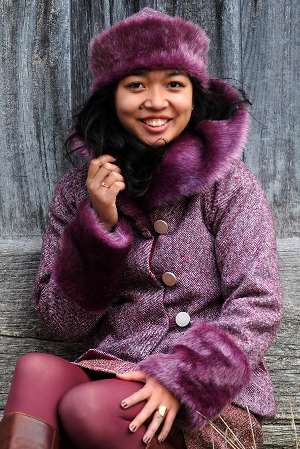 VESTE COL FOURRURE -et tweed laine - violine-3