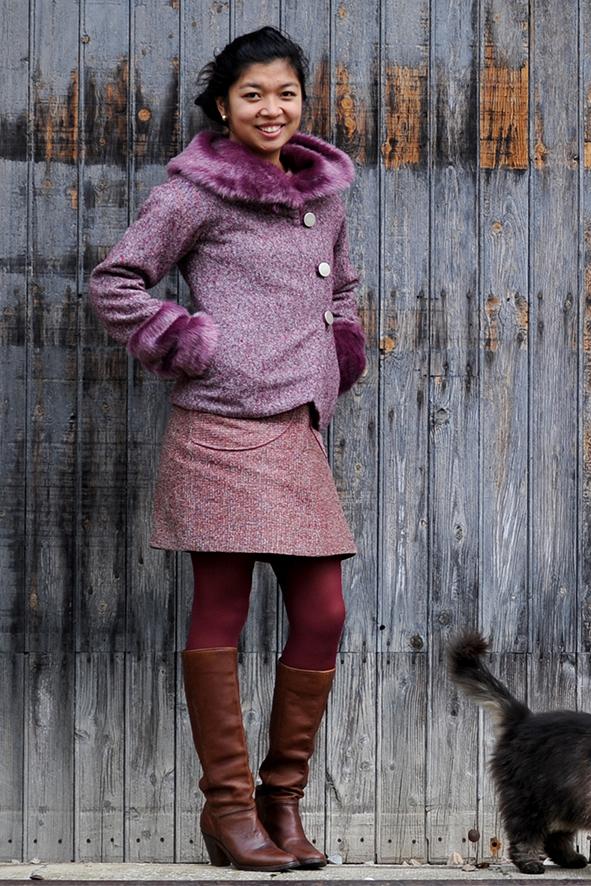 VESTE COL FOURRURE -et tweed laine - violine-1