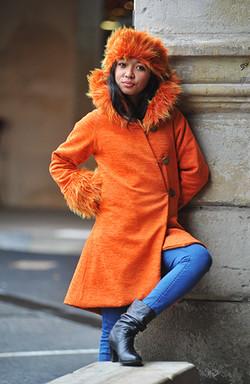 Manteau Fourrure Orange