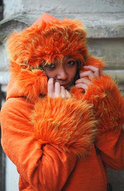 Toque de fourrure orange