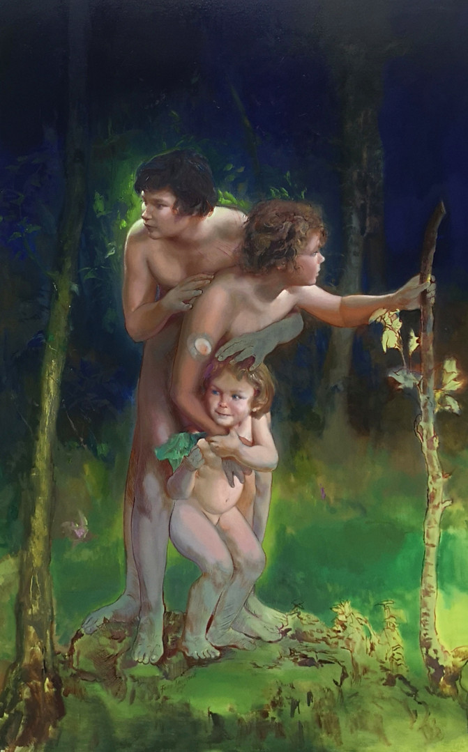 Three Orphans in the woods, 2020, huile sur toile, 195x130 cm.