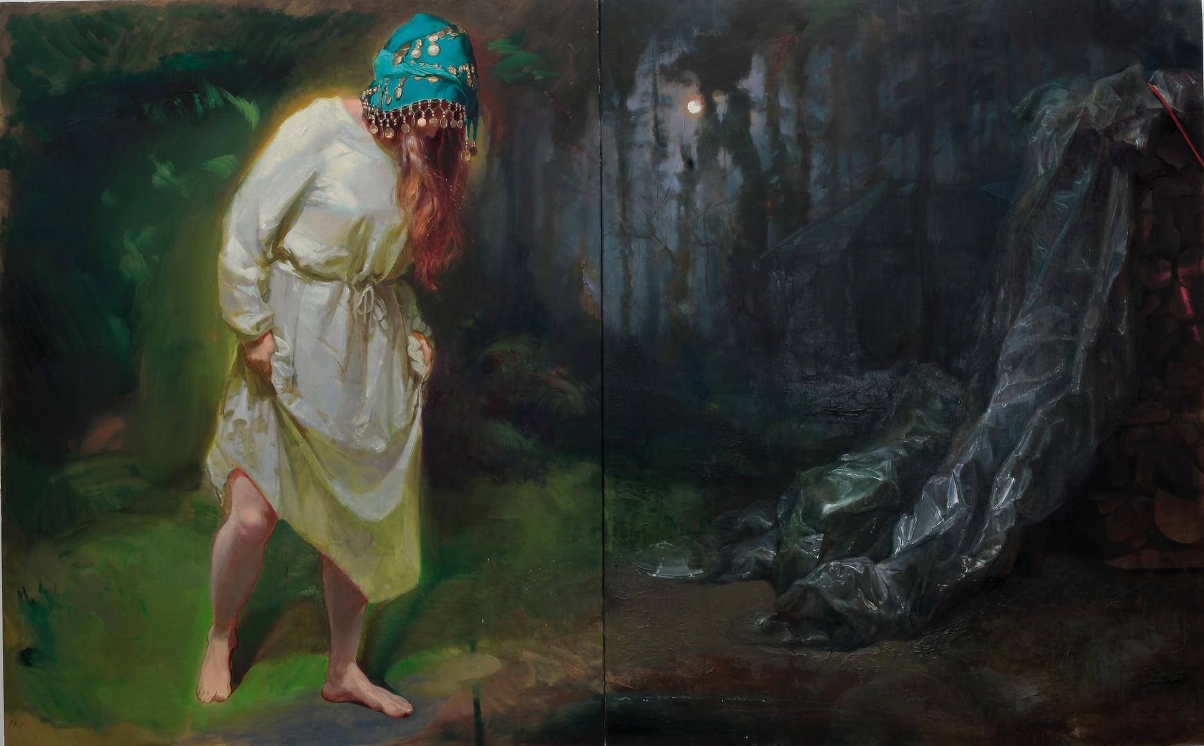 Lucid Dreaming, 2020 Huile sur toile, 160x260 cm.