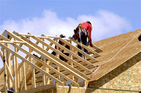 Framing a roof ready for clay roof tile installaton