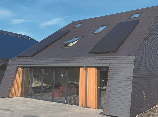 Solar Panels nicely matched iwth Dreadnought Staffordshire Blue tiles