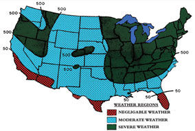 Freeze thaw temperature map of America