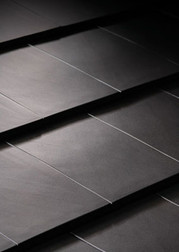 Flat interlcoking clay roof tile in Metallic gray