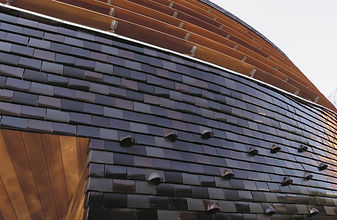 Glazed Engish Roof Tiles used on an exterior wall