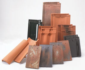 A selection of clay roof tiles