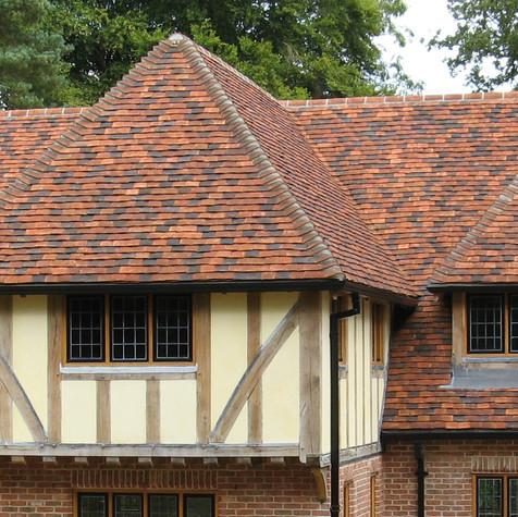 Tudor English Handmade Tiles in blend of 55% Medium Antique, 30% Dark Antique and 15% Antique Red.