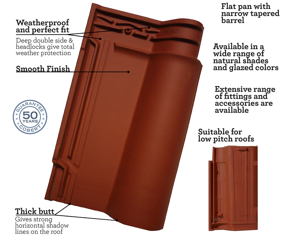 Lusa Clay Roof Tile - Waterproof and perfect fit, wide range of colors and glazed colors, suitable for low pitch roofs Spanish S with a smooth finish
