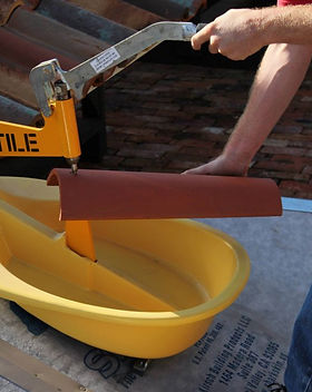 The HyTile tile cutter. Quite, low dust and easy to use
