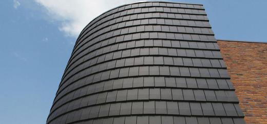 Plana flat interlocking clay roof tile in Ebony