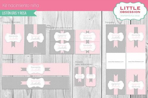 Kit imprimible nacimiento gris y rosa