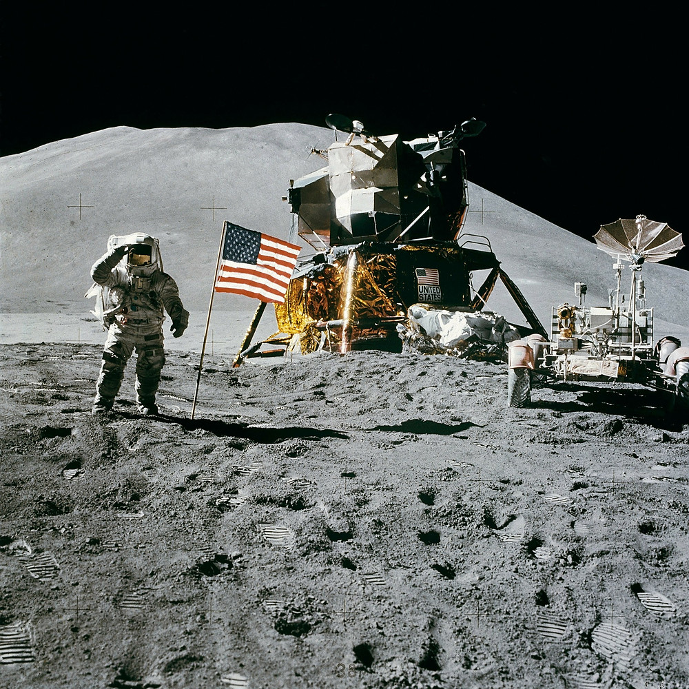 LM and astronaut on the Moon