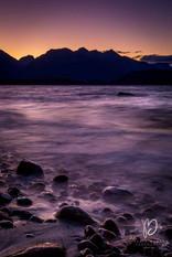 Manapouri Lake au coucher de soleil