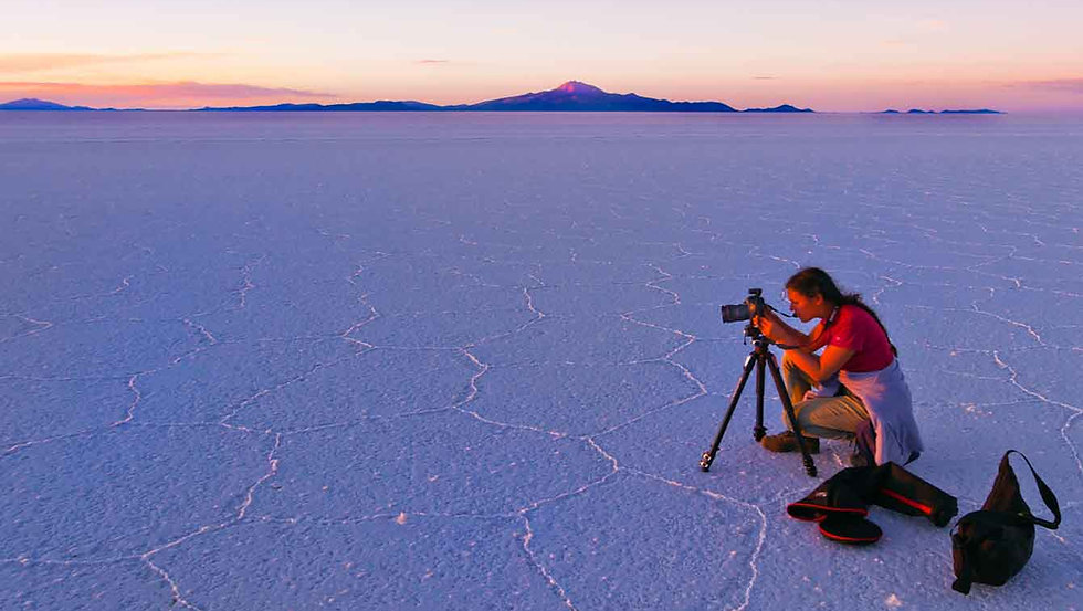 Julie & Salar Sunset with Camera on Trip