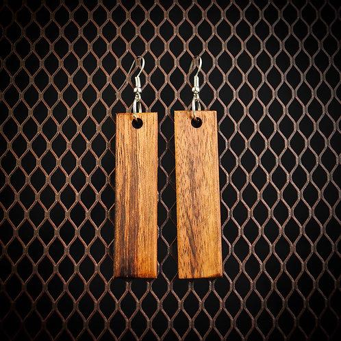 Tiger Wood Dangle Bar Earrings