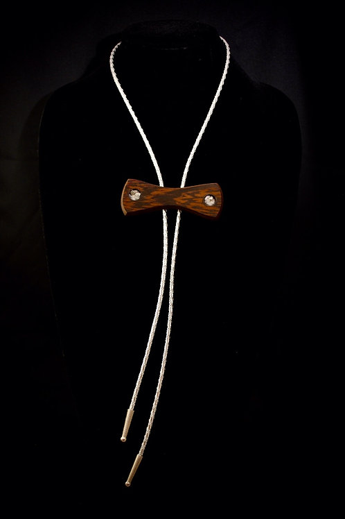Howlite Inlaid African Wenge Bolo Bow Tie
