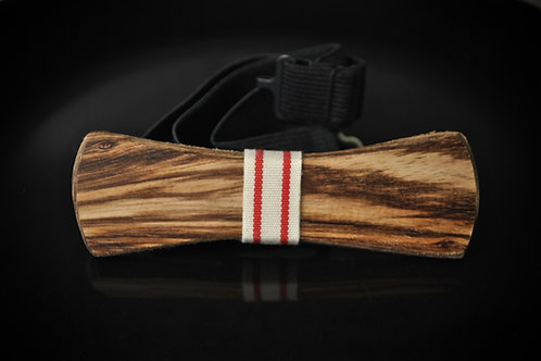 Zebra Wood:  White & Red Cotton Notch