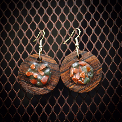 Goldstone & Aquamarine Inlay Bocote Earrings