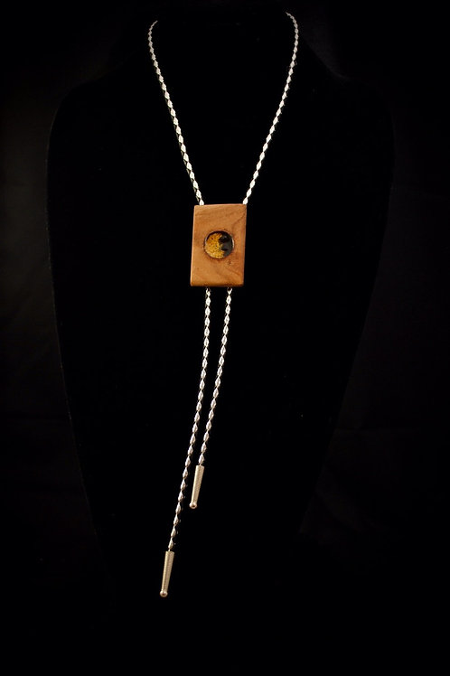 Crushed Orpiment & Obsidian African Bubinga Bolo Tie