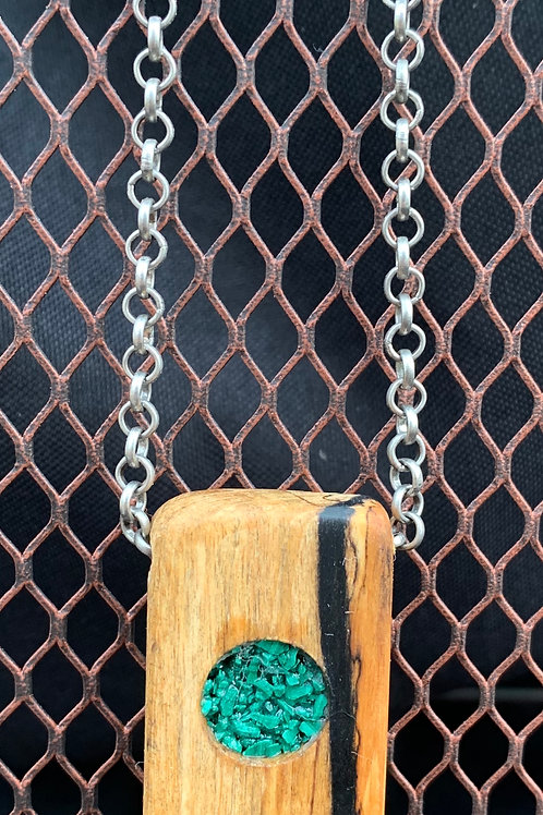 Black/White Ebony - Malachite Inlay