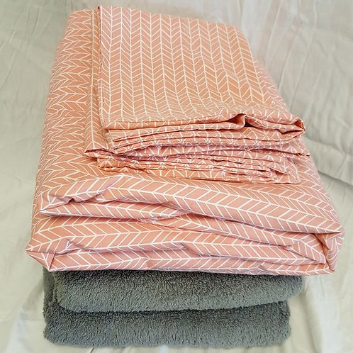Full Sheet Set + 2 bath towels