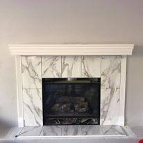 Porcelain Tile Carrara Marble Fireplace