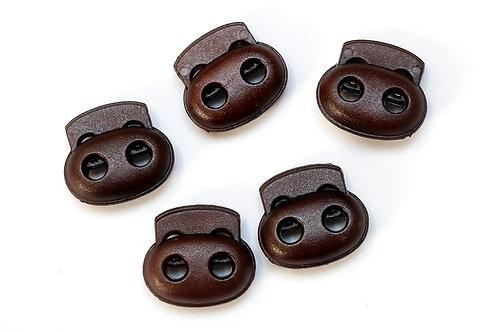 2-Loch-Kordelstopper dunkelbraun (1 Stück)