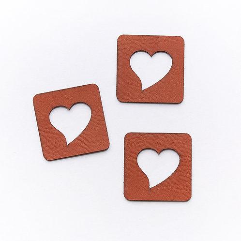 Kunstlederlabel Herz gestanzt (1 Stück)